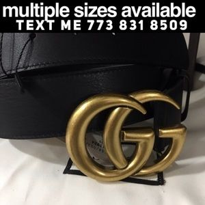 Real leather Gucci black belt with gold 1.5 buckle
